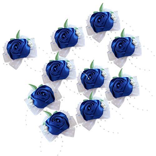 B Blesiya 10 unità Bouquet di Rose di Stoffa Blu Corpetto Nuziale Accessori per Sposa