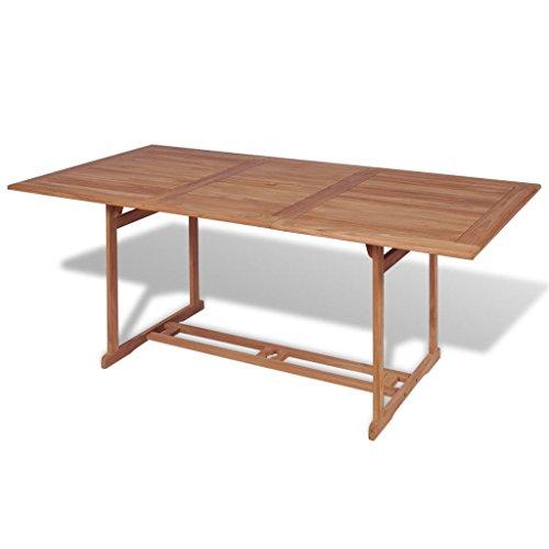 Lingjiushopping eettafel voor buiten, rechthoekig, 180 x 90 x 75 cm, teakhout, afmetingen: 180 x 90 x 75 cm (L x B x H).