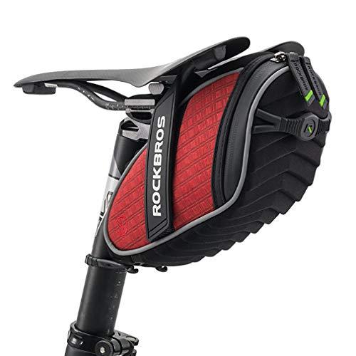 ROCKBROS(ロックブロス)サドルバッグ 自転車 バッグ シートバッグ 撥水 大容量 3Dシェル 取り付け簡単 反射付き(レッド)