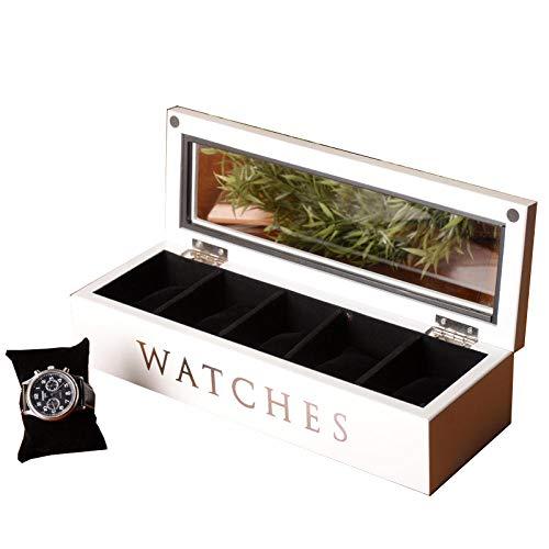 FIONAT Uhrenbox Schmuckkästchen Herren Reisen Damen Geschenk Hölzernes 5 Gitterglasdachfenster-Weißspeicher-Speicherkasten 34 * 11.5 * 7.6Cm