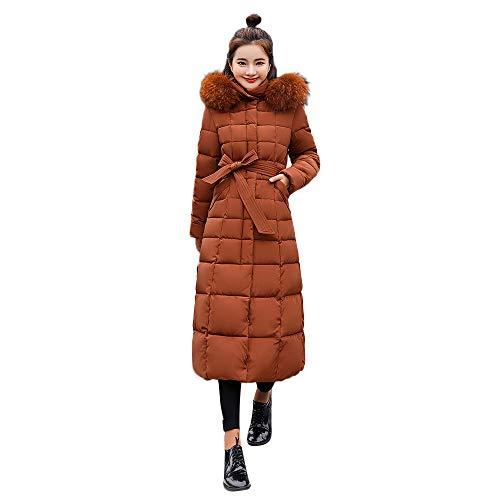 iHENGH Damen Winter Jacke Dicker Warm Bequem Slim Parka Mantel Lässig Frauen Oberbekleidung mit Kapuze Lange mit Baumwoll Innenfutter Taschen Pullover(Kaffee, L)