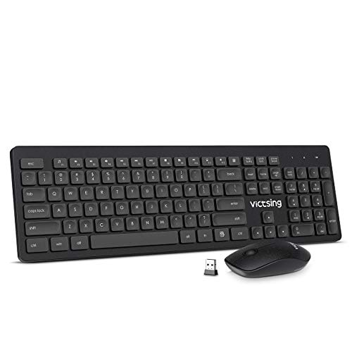 VicTsing Wireless Keyboard and Mouse [Whisper Quiet], 2.4G Wireless Keyboard Mouse Combo, Cordless Computer Keyboard and Silent Mouse, Nano USB Receiver for PC Laptop Chromebook Notebook Windows,Black
