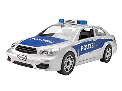 Revell Junior Kit Polizei Auto Modellbausatz für Kinder zum Schrauben, robust zum Basteln und Spielen, ab 4 Jahren, kindgerecht, müheloses Verbinden weniger Teile, mit Aufklebern - POLICE CAR 00802