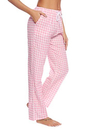 Aibrou Damen Schlafanzughose Pyjamahose Nachtwäsche Hose Baumwolle Lang Sleep Hose Pants Kariert Rosa M