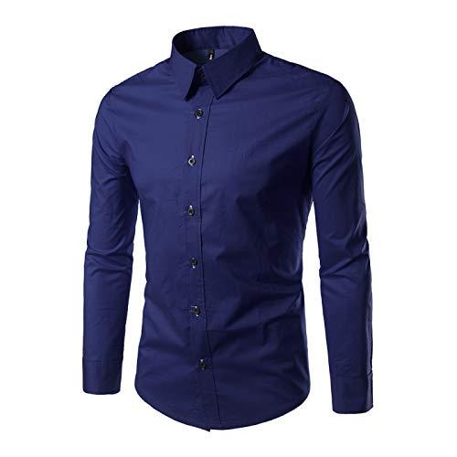 Camisas de Manga Larga para Hombres Camisas Casuales de Negocios de Color sólido de Ajuste Regular Trabajo de Oficina en casa Camisas versátiles Casuales con Botones Large