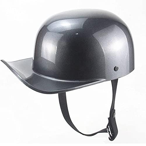 Motorcycle Helmet Vintage Adults,Retro Open-Face Helmet for Men and Women ECE Certified, Bike Cruiser Chopper Moped Scooter ATV Helmet Half Open Helmet Silver,L56~58CM