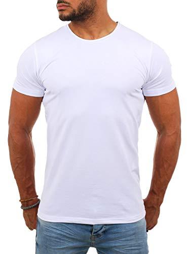 Young & Rich Herren Uni Basic T-Shirt mit Rundhals Ausschnitt einfarbig Round Neck Tee Stretch körperbetonte Dehnbare Passform, Grösse:L, Farbe:Weiß
