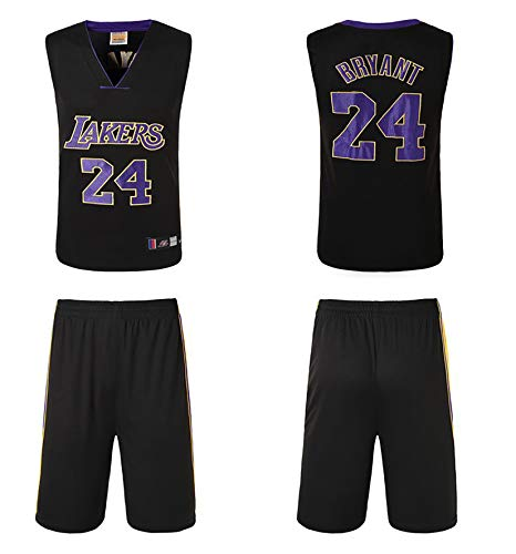 PGODYQ Pantalones Cortos De Baloncesto para Hombre Jersey Kobe 24 Santiago 23 Bryant 8 para Los Fanáticos De Lakers Jersey, Número De Bola Y Logo Chaleco Deportivo Vestime 24 Black-L