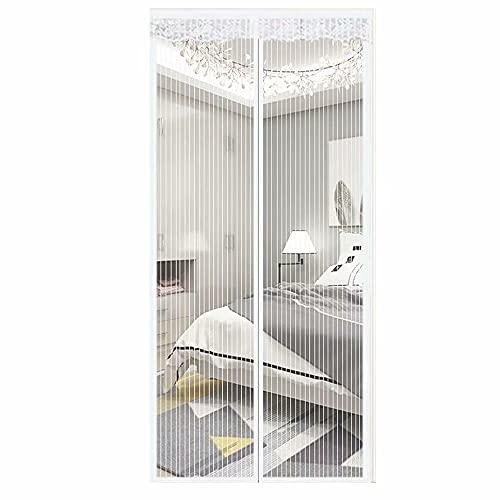 MAODOU 130 x 280 cm (51 x 110 pollici), zanzariera magnetica, zanzariera per porta del balcone, montaggio facile, non accorciabile, perfetta vestibilità senza spazi vuoti, bianco
