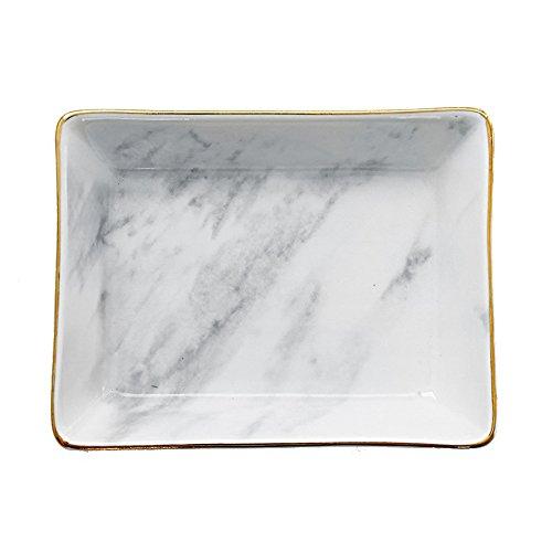 SOCOSY Marble Ceramic Ring Dish Jewelry Dish Ring Holder Jewelry Tray Organizer with Golden Edged Home Decor Wedding Gift (Marble, Medium)