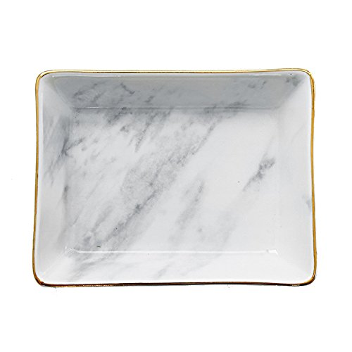 SOCOSY Marble Ceramic Ring Dish Jewelry Dish Ring Holder Jewelry Organizer with Golden Edged Home Decor Wedding Gift