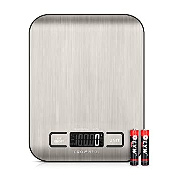 CROWNFUL Food Scale 11lb Digital Kitchen Scales Weight Ounces and Grams for Cooking and Baking 6 Units with Tare Function  Batteries Included