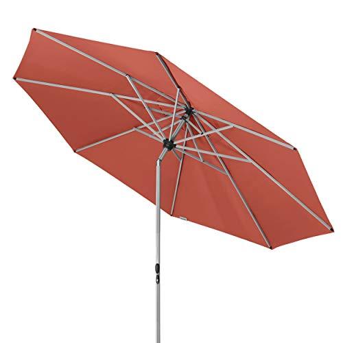 Doppler Active TELESKOP – Innovativer Sonnenschirm ideal für Terrasse und Garten – Knickbar – ca. 340 cm – Terra Cotta