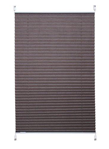 SHINY HOME Plissee Jalousie verspannt, klemmfix Faltrollo für Fenster ohne Bohren, 60 cm breit, 60 x 130 cm, Kaffeegrau