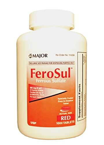 Major FEROSUL 5GR FC RED TABS Ferrous SULFATE-325 MG Red 1000 Tablets UPC 309047590803