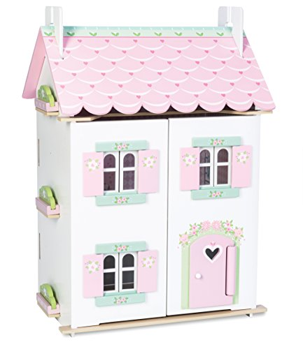 Le Toy Van - Sweetheart Cottage Large Wooden Doll House With Furniture   Boys & Girls 3 Storey Wooden Dolls House Play Set - Suitable For Ages 3+