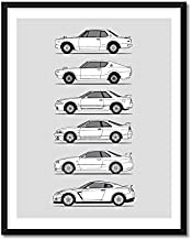 Nissan Skyline GT-R Generations Inspired Poster Print (Wall Art Decor of the History and Evolution of the Skyline KPGC10, KPGC110, R32, R33, R34, R35)