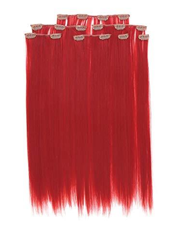 Prettyland antistatique Set de 7 pièces Clip-in 50 cm longue lisses Extensions de cheveux Rouge R02