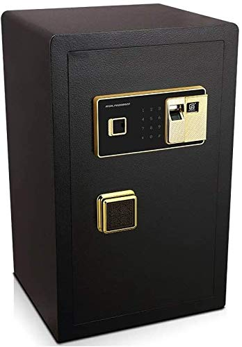 Caja fuerte para el hogar, cajas de bloqueo seguro Caja de seguridad digital electrónica, huella dactilar biométrica Caja fuerte de acero, 36x32x58cm, caja de acero en casa, para oficina de hotel en e