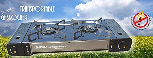 Tragbarer Doppel-Gaskocher Campingkocher Doppelbrenner