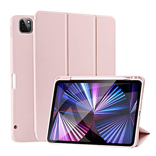 SIWENGDE Magnetische Hülle für iPad Pro 11 2021/2020, Robuste Stoßfeste Ganzkörper Schutzhülle für das iPad Pro 11 Zoll(3. Generation 2.Generation ), Auto Schlaf/Aufwach (Zartes Rosa)