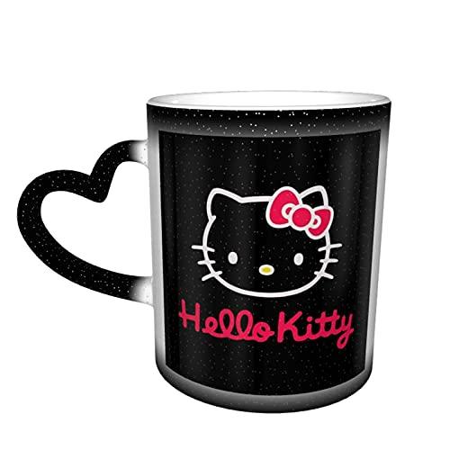 Dibujos animados animado lindo Hello Kitty taza de café cerámica tazas de té cambio de color novedad familia amantes amigos oficina regalo de cumpleaños