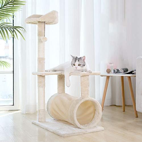 Rascarse Gato Molino De Columpio Puede Llevar Jugable Túnel De Juguete Garras Divertidos del Gato Moler Alimentos para Mascotas Bola De Sisal Gato Que Salta Gato del Árbol De Un Color Beige,Big