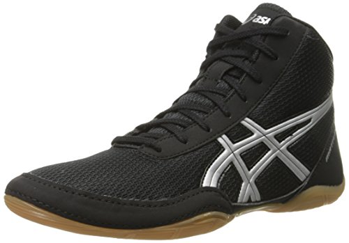 ASICS Men's Matflex 5 Wrestling Shoe, Black/Silver, 9.5 M US