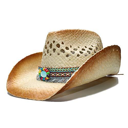 LHZUS Sombreros Sombrero del Sol del Vaquero de los Hombres de Las Mujeres Playa Occidental de la Paja del Verano Sombrero de Fedora Sombrero Hueco de Cuero de la Turquesa