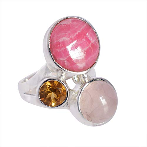 Ravishing Impressions Jewellery Mujer Unisex Plata fina 925 plata de ley Round-Shape Rodocrosita, cuarzo rosa y citrino