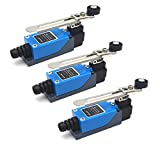 Antrader 3-Pack AC250V 5A ME-8108 Momentary Roller Lever Arm Limit Switch for CNC Mill Laser Plasma