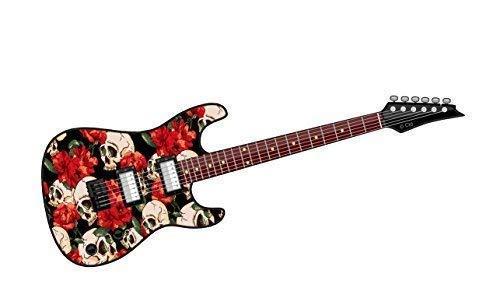 Cool Eléctrico Guitarra Diseño con Calavera Gótico & Clásico Rojo Rosa Motivo...