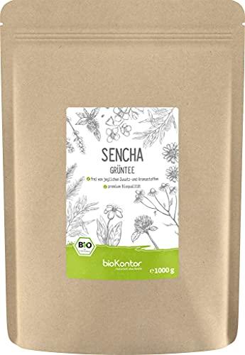 Grüner Sencha Tee BIO 1000 g I lose und geschnitten I aromatischer bio Sencha Grüntee I 100% natürlich I bioKontor