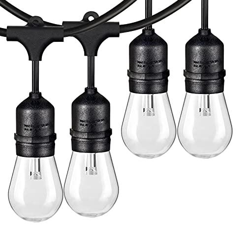 2-Pack 48FT LED Dimmable String Lights Outdoor for Patio, Commercial Grade LED Edison Bulb String Lights Waterproof, LED Cafe Lights Bistro Lights Shatterproof for Pergola Deck Backyard(Total 96FT)