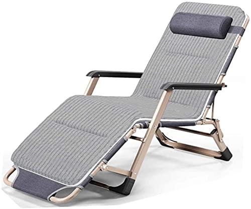 CHLDDHC Liegestuhl Liegestuhl,Klappbarer Mittagspausenstuhl Büro Nap Bed Beach Chair Home Tragbare Sonnenliege,Grey-66CM