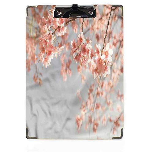 Peach Decor Portapapeles tamaño carta perfil bajo clip japonés Sakura Tree Hardboard para aulas, oficinas, restaurantes, oficinas doctorales