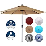 Blissun 9' Outdoor Market Patio Umbrella with Push Button Tilt and...