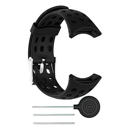 Smartwatch Cinturino in Gomma Siliconica Morbida per Uomo Cinturino di Ricambio per Bracciale per Suunto M1 M2 M4 M5(Nero)