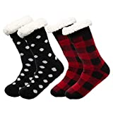 Treehouse Knit (2 Pack) Womens Thick Knit Sherpa Fleece Lined Thermal Fuzzy Slipper Socks With Grippers