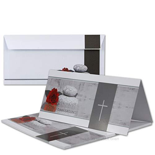 100x Danksagungskarten Trauer mit Umschlag DIN LANG - Mit Text DANKSAGUNG - Motiv Rose Stein Trauerkreuz - Trauerkarten Set - würdevolle Dankeskarte