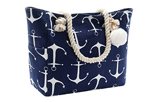 Women Large Beach Tote Bag Zipper Inner Pockets Extra Big Utility Navy Blue Anchor Canvas Shoulder Rope Waterproof Sand Proof Woven Swim Pool Gym Picnic Travel Summer Weekender Fashion Accessories