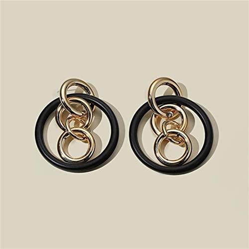 CXWK Pendientes llamativos Negros para Mujer Pendientes Colgantes geométricos Bohemios Joyas de Moda Pendientes inusuales