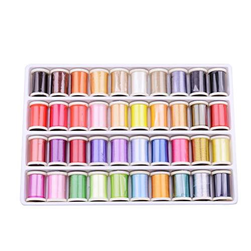Hotaluyt 40 Colores Bordado Hilos Arte de DIY Kit de Costura del...