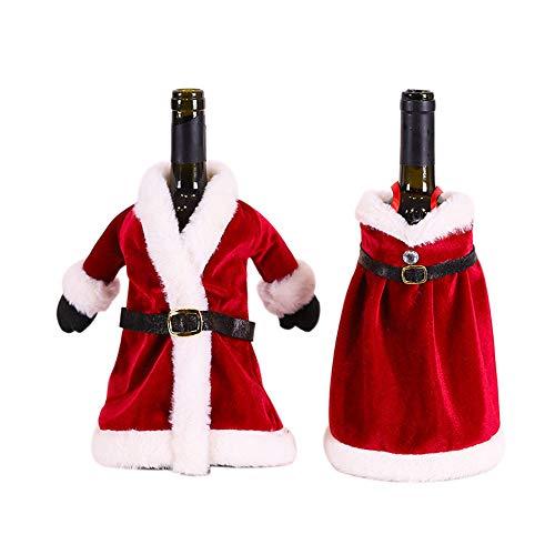 QLKJ 2 Botellas De Vino De Navidad Decoraciones NavideñAs Vestidos De Navidad/Faldas Trajes Decoraciones Bolsas De Vino Creativo