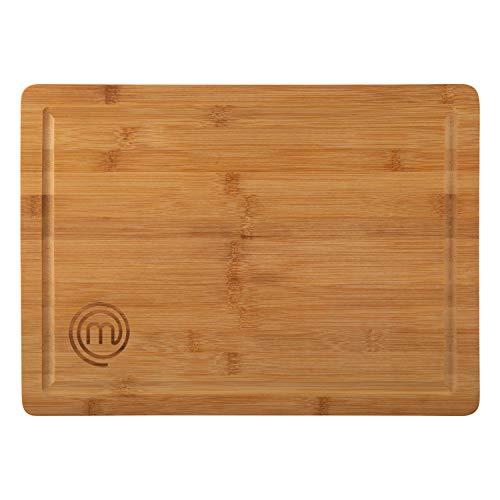 MasterChef 525522 Tabla bambú, para Preparar, Cortar, trocear y Servir, Dimensiones: 38,5 x 27,5 cm