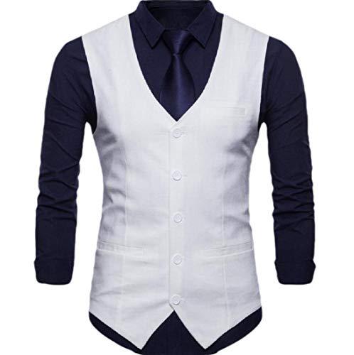 GenericC Men's Single Breasted Sleeveless Formal Business Wedding Waistcoat Vest White M