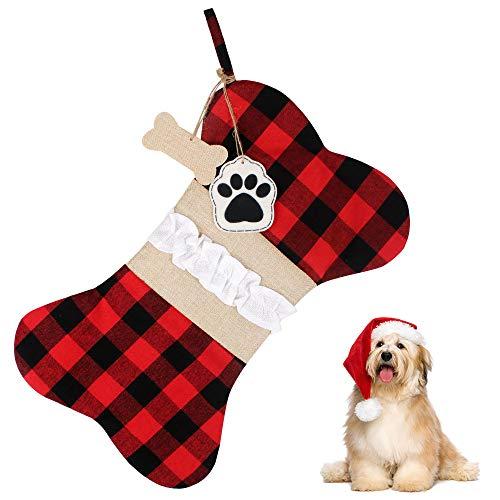 Aipaide Perro Calcetín Navideño Decoración Colgante Navideña, Calcetín de Chimenea de Santa Claus, Bolsa de Calcetín de Navidad, Navidad Bolsa de Regalo para Adornos Navideños