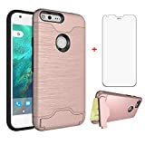 Google Pixel 1 Wallet Phone Case 5 inch 2016 with Tempered Glass Screen Protector Credit Card Holder Stand Kickstand Full Body Silicone Hard Rugged Protective for Pixel1 One Women Girls Pink Rose Gold