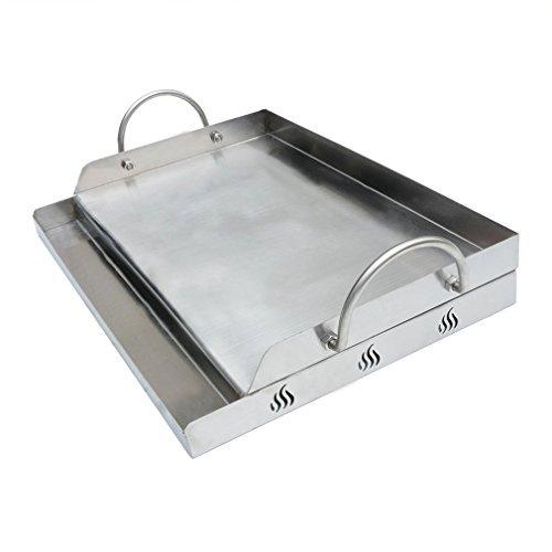 Onlyfire Piastra BBQ Universale in Acciaio Inossidabile per Barbecue a carbonella, a Gas e Altri, Rettangolare, 51 X 32 X 12,4 cm (Larghezza x profondità x Altezza)