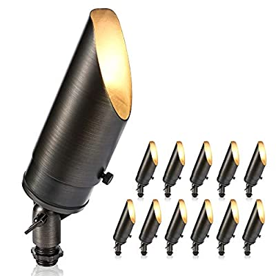 Gardencoin Solid Brass 12v Low Voltage Landscape Lighting Uplight Spotlight with Ground Spike and Without Bulb(12 Pack)